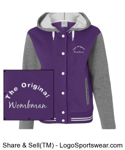 "Ladies ""The original Wombman Junior Fit Varisty Sweatshirt Jacket Design Zoom"